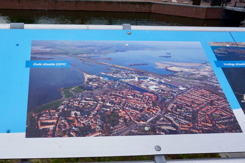 Luchtfoto van het project Waterfront in Harderwijk, oude situatie 2011